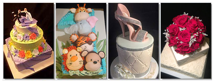 Wedding Cake, Cake with Animals, Shoe Designed Cake and a Cake with Roses on Top
